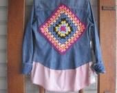 Bohemian shirt, Rustic tunic, S-M, hippie denim shirt, denim, Upcycled eco fashion clothing