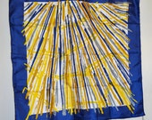 Vintage Scarf Blue Gold Glenty Square Hand Rolled Japan Abstract