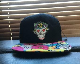 Floral brim handmade sugar skull patch hat