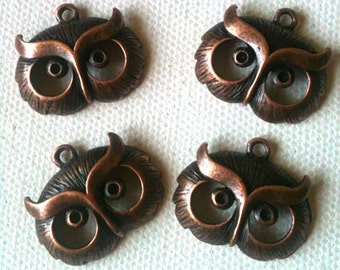 4 Charms - Antiqued Bronzed Owl Face Charms
