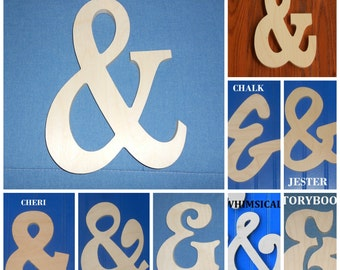 "10"" AMPERSAND, ""&"", AND Unpainted Wooden Shapes Wall Hanging Room Decor Family Crafts"