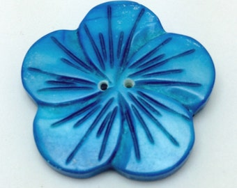 Blue Shell Flower Shaped Buttons -FLR0005B