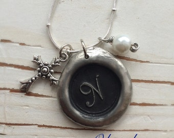 Handmade WAX SEAL Initial, Pendant Necklace, Personalized Initial Pendent, by Okrrah