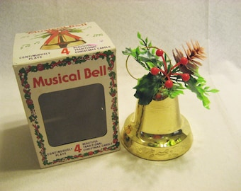 4 Song Musical Christmas Bell Vintage 1970s Plastic Goldtone Bell