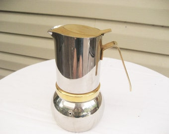 Vintage Stove Top Prodotti Stella Stainless Steel Espresso Coffee Maker #6 Made in Italy