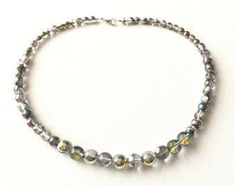 Clear Beaded Necklace, Czech Glass, Clear, Vitrail Glass, Graduated Bead