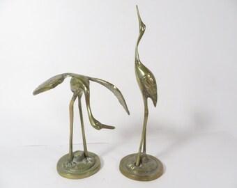 Vintage Brass Cranes -  Set of 2 Brass Cranes - Brass Figurines