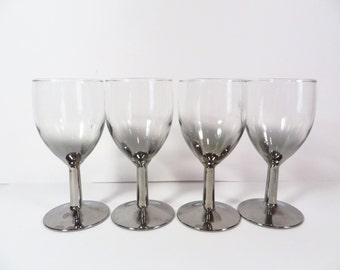 Silver Ombre Wine Glasses - Set of Four Faded Silver Wine Glasses