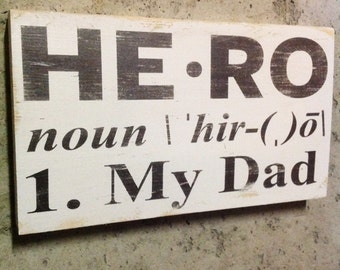 Hero Wood Sign Fathers Day Wall Art Dad Gifts For Him