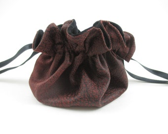 Dark Red Scaly Suede Round Drawstring Bag, Dice Bag, Gift Bag, Small Size