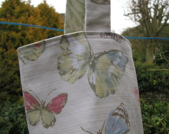 Pastel Butterfly Peg Bag with Button Fastening