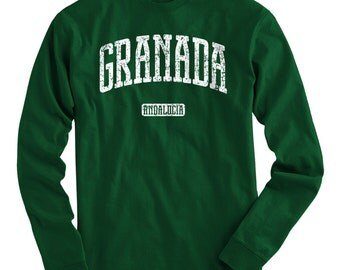 LS Granada Spain Tee - Long Sleeve T-shirt - Men and Kids - S M L XL 2x 3x 4x - Granada Shirt, Spanish - 4 Colors