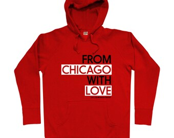 From Chicago With Love Hoodie - Men S M L XL 2x 3x - Chicago Hoody, Sweatshirt, Heart, Gift - 4 Colors