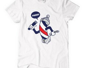 Women's Faded T-shirt - S M L XL 2x - Ladies' Barber Tee, Barbershop, Barber Pole, Hair Stylist, Salon - 2 Colors