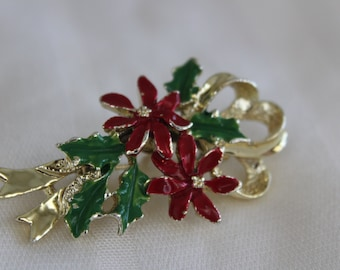 Vintage Holly Leaf and Pointsettia Brooch
