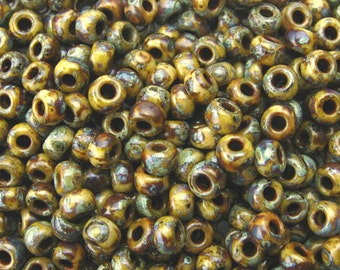 6/0 Seed Beads Miyuki Opaque brown Picasso- 4517