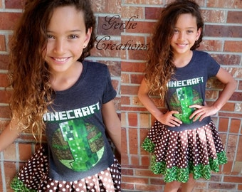 Girls MINECRAFT Dress, Girls Dress, Creeper Minecraft, Creeper, Minecraft, Gray Green Brown Dress - 3 Available S 6/6X M 7/8 L 10/12