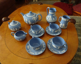 15 Piece Wedgewood Blue Jasperware Tea Set, Porcelain Tea Set