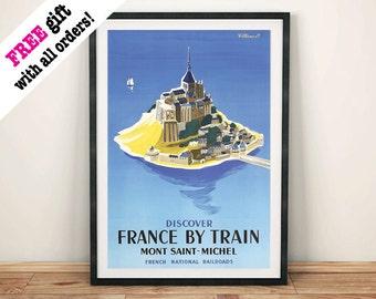 MONT St MICHEL POSTER: Vintage Island Advert Art Print Wall Hanging, Blue