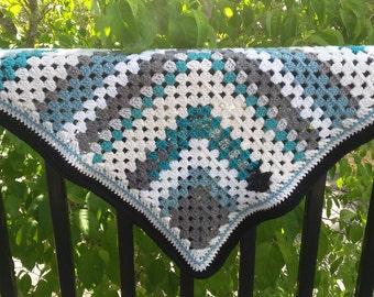 Aqua granny square blanket, aqua throw, granny square blanket, lap blanket, washable blanket, grey acrylic blanket, striped blanket