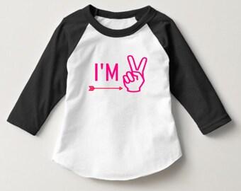 I'm Two Girls Raglan black and white sleeves with neon pink design arrow baseball tee toddler girls birthday party shirt tee
