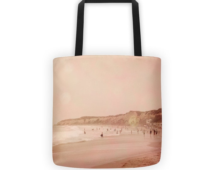 Pink Coastal Beach Tote for Eco Shopping and School and Sundry