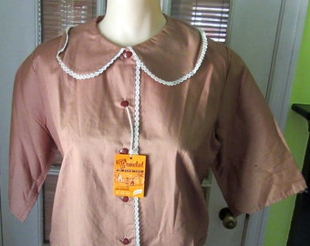Vintage 1960's Brown Cotton Button Down Stein Tex Trinidad Blouse UNWORN! Lace Trimmed Collar Ladies Vintage Clothing Shirt
