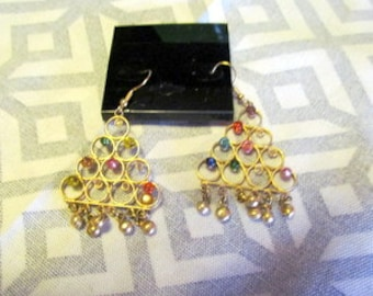 GOLD DANGLE Earrings With Multi Colored BEADS