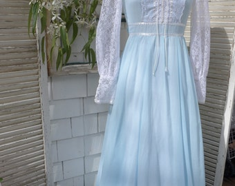 Gunne Sax Maxi Dress Pale Blue Voile Prairie Lace Front Bodice 70s Long Sleeve Dress
