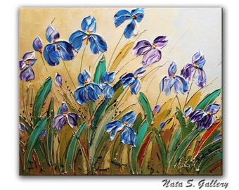 "Wild Irises ORIGINAL Contemporary Painting. Abstract .Palette Knife.Textured Flowers Painting.Modern Irises Painting 20"" x 24""... by Nata S."