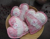 Hearts Stuffed Bowl Fillers Set of 3 Pink and White Vintage Fabric Lace Buttons Home Decor Valentines Day