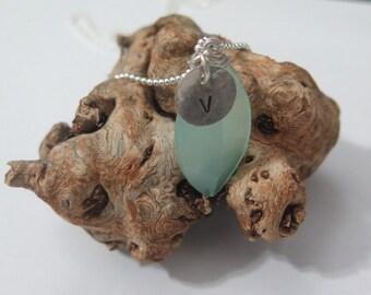 Initial & Gemstone, Aqua Chalcedony Necklace, Sea Stone Jewelry, Bridesmaid Silver Jewelry, Bridesmaid Gemstone Necklace, Initial necklace