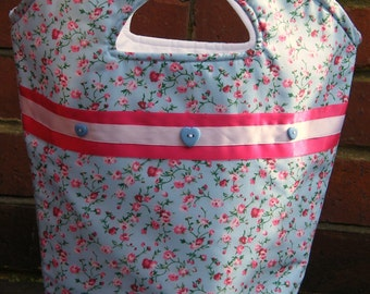 Blue Floral Fabric Bag.Girls Bag,Teen Bag,Women's Bag.Handbag.ladies bag