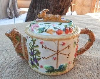 Rabbit Teapot  ~  Ceramic Rabbit Teapot  ~  Garden Rabbit Teapot  ~  Country Rabbit Teapot  ~  Brown Bunny Teapot  ~  Garden Bunny Teapot