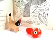 Orange Spotted Fish Catnip Cat Toy - Needle Felted Wool