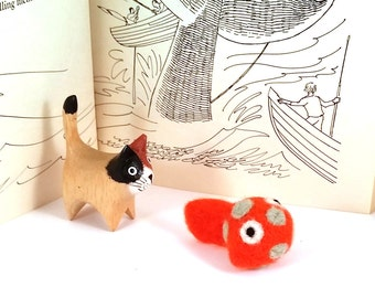 Orange Spotted Fish Catnip Cat Toy - Needle Felted Wool