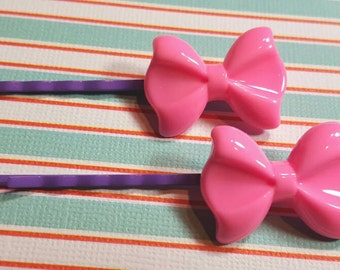 Bubblegum Pink Fairy Kei Bow Bobby Pins (2 pcs)