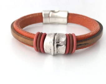 Mens Leather Cuff - Genuine Leather Bracelet - Men Leather Bracelet - Mens Cuff Bracelet - Gift for him