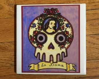 La Dama (The Lady) Ceramic Tile Coaster -  Loteria and Day of the Dead skull Dia de los Muertos calavera designs