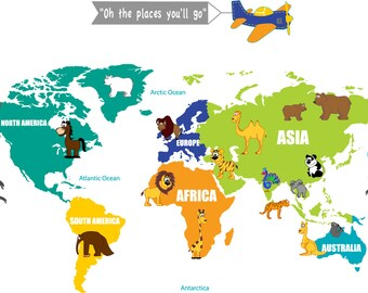 wall decals - Kids wall decals - map decal -  world map decal -  vinyl wall decal - playroom decals - plane banner decal