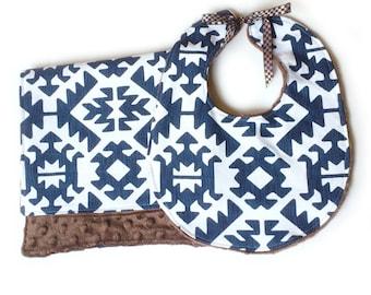 Navy Aztec -  Feeding Set Baby Boy Tie Bib with cotton + Burp Cloth brown minky