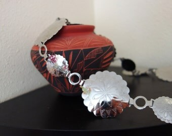 Vintage WESTERN Bold Silver Concho Souvenir Belt Small to XL Southwestern Indian 31 32 33 34 35 36 37 38