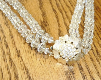 Vintage Necklace Deco Magnificent Capped Crystal Bead Double Strand Necklace W Rhinestone Flower Clasp Vintage Jewelry By Vintagelady7