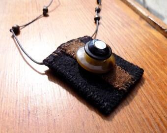 Beauty  - Textile Necklace / Wearable Art / Pocket Necklace / Poem Keeper
