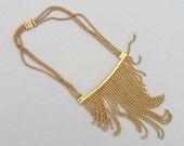 STOREWIDE SALE Art Deco Necklace. Gilt Brass Fringe Bib. Ball Chain Statement.