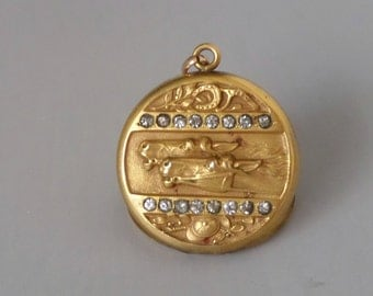 Antique Horse Locket with Brilliants. Victorian Edwardian.