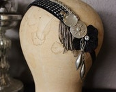 25% OFF Assuit Tribal Headdress- Simple Black Assiut Headpiece with Antique Bullion Trim Flapper Gatsby