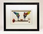 Custom Love Birds with a nest on a flared paintbrush framed