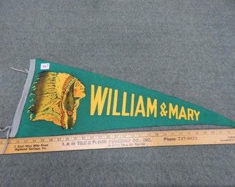College of William & Mary Vintage Indian Head Felt Pennant