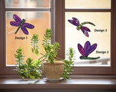 CLR:WND - Dragonfly Stained Glass Pack - See-Through Vinyl Window Decal ©YYDC (3 Pack) (Color Choices)